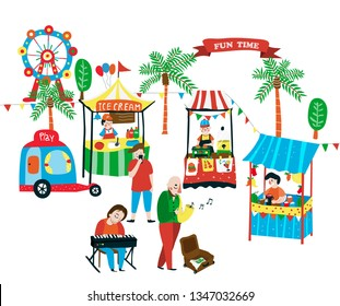 Weekend market doodle with food stalls selling ice-cream, juices, and burgers, and the street music band playing piano and saxophone, surrounded with palm trees, car toy and ferris wheel