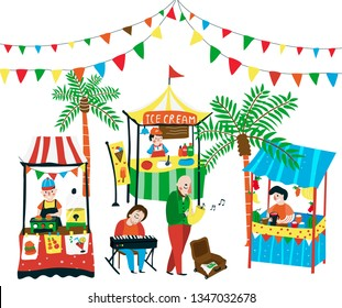 Weekend market doodle with food stalls, and street music band and flags on top, all designed in colorful colors, white background, illustration, vector