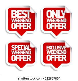Weekend offer speech bubbles stickers set.