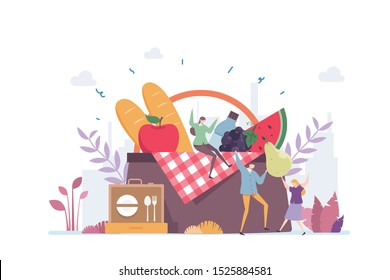 Weekend Picnic Vector Illustration Concept Showing friend having fun relaxing in picnic, Suitable for landing page, ui, web, App intro card, editorial, flyer, and banner.
