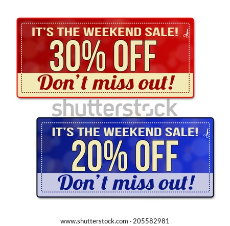 weekend sale coupon voucher tag red stock vector royalty free