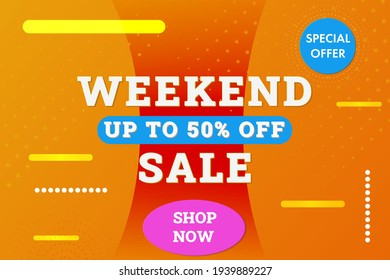 Weekend Sale horizontal banner background. Up to 50% off sale banner template for discount, business, advertisement, promotion. Blue,yellow color. Stock vector illustration.