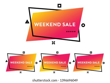 Weekend Sale. Set of four orange geometric trendy banners.  Modern gradient shape with promotion text. Vector illustration.