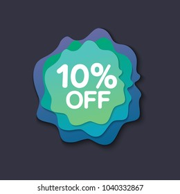 Weekend sale special offer banner, up to 10% off. Vector illustration.