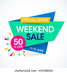 Weekend sale special offer banner, up to 50% off. Vector illustration.