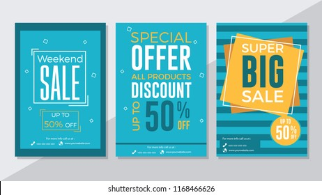 Weekend sale, special offer and super big sale flyer template