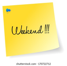 Weekend Yellow Sticky Note