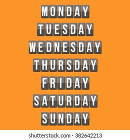 weekly calendar, mechanical panel letters, flat design