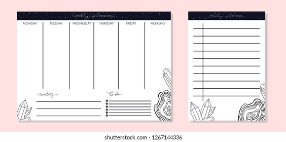 Weekly and daily planner set. Minimal design with crystals doodle. Vector illustration