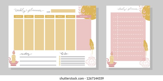 Weekly and daily planner set. Pink and yellow doodle moon. Vector illustration.