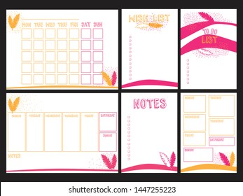 Weekly, daily planners A4 format and To do, Wish, Notes A5 blank templates for diary, bullet journals, notebooks. Vector template with pink, yellow jungle leaves on white background.