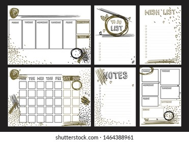 Weekly, daily planners A4 format and To do, Wish, Notes A5 blank templates for diary, bullet journals, notebooks. Vector template with golden brush strokes, scribbles on white background.