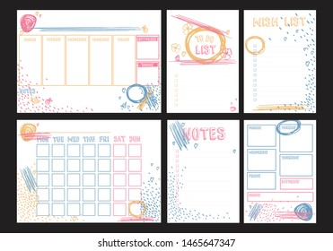 Weekly, daily planners A4 format and To do, Wish, Notes A5 blank templates for diary, bullet journals, notebooks. Vector template with pink, yellow, blue brush strokes, scribbles on white background.