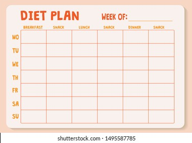 Weekly Diet plan. Meal Plan for a week, calendar page, shopping list, water drinking schedule. Diet plan page. Horizontal blank form. Water reminder. Healthy diet. Daily nutrition planning.