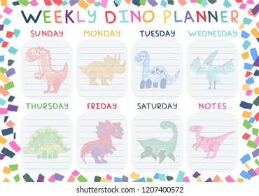 Weekly dino planner for all days of the week. Every day is a new kind of dinosaur. Bright and colorful design.