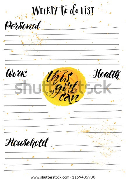 Weekly Do List Planner Hand Lettering Stock Vector (Royalty