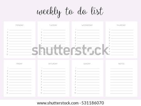 weekly do list vector template blank のベクター画像素材