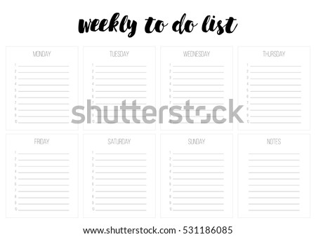 Weekly Do List Vector Template Blank Stock Vector Royalty Free
