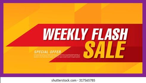 Weekly flash sale. Vector banner