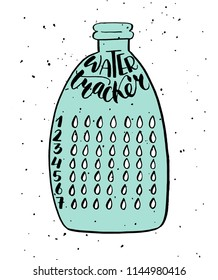 Weekly habit tracker blank with handwritten cute lettering and the bottle made in doodle style. Bullet journal template. Vector illustration. Isolated.