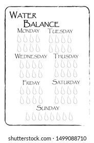 Weekly Habit tracker water balance control. Drink 8 glasses a day. Water drops in grunge sketch style. Printable blank for bullet journal, scrapbooking, notepad. DIY planner sheet decorated with frame