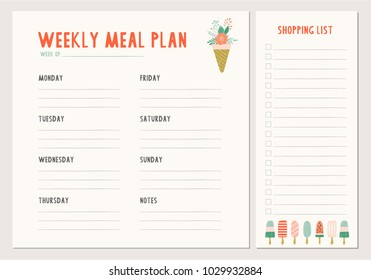 Weekly meal plan. Vector