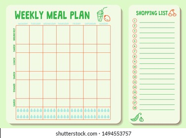 Weekly meal plan. Meal Plan for a week, calendar page, shopping list, water intake scheme. Diet plan page. Horizontal blank form. Vector illustration