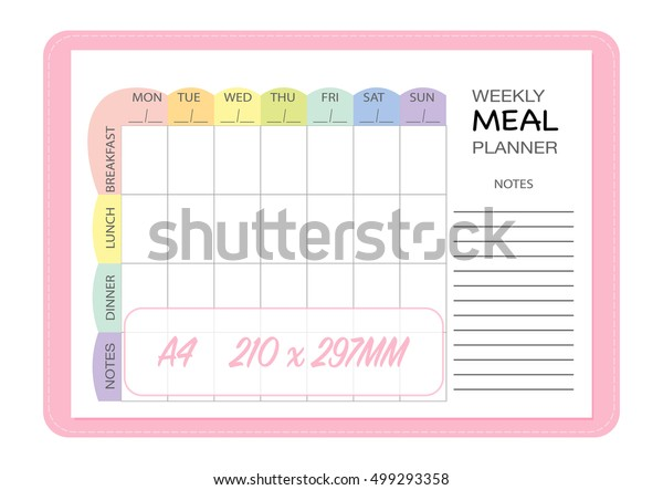 Weekly Meal Planner Insert Template Menu Stock Vector