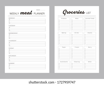 Weekly Meal Planner printable template Vector. Meal planning andgrocerieslist. Easily plan out of your weekly meals for breakfast, lunch and dinner. Simple Clear Vector illustration design.
