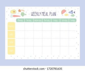 Weekly Meal Planner with simple flat illustrations. Template for agenda, meal healthy planners, and other stationery. Isolated. Vector.