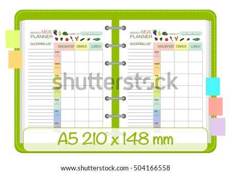 Weekly Meal Planner Template Menu Schedule Stock Vector Royalty