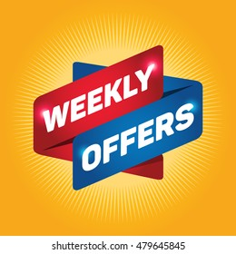 WEEKLY OFFERS arrow tag sign.