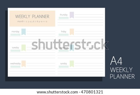 weekly personal planner water tracker blank stock vector royalty