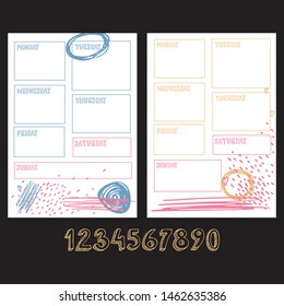 Weekly planner blank template. Sunday, monday, tuesday, wednesday, thursday, friday, saturday words for diary, bullet journal, notebook. Two colorful templates with brush strokes on white background.