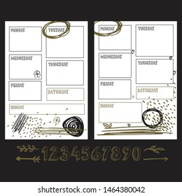 Weekly planner blank template. Sunday, monday, tuesday, wednesday, thursday, friday, saturday words for diary, bullet journal, notebook. Two templates with gold abstract elements on white background.