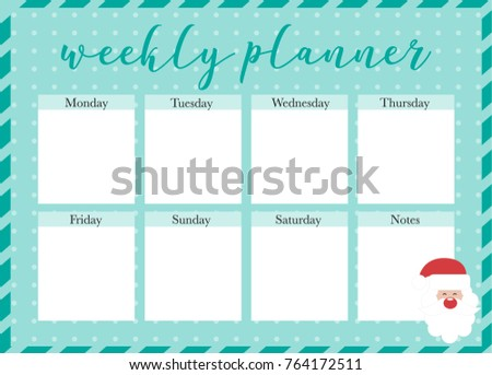 graphic regarding Christmas Printable Decorations known as Weekly Planner Xmas Printable Planner Seek the services of Inventory Vector
