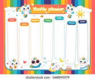 Weekly planner with cute fantasy animals the caticorn in bright rainbow colors template vector illustration isolated on white background. School weekly organizer page.