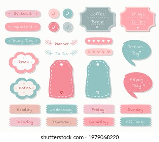Weekly planner with cute illustration pastel theme graphic for journaling, sticker, and scrapbook.