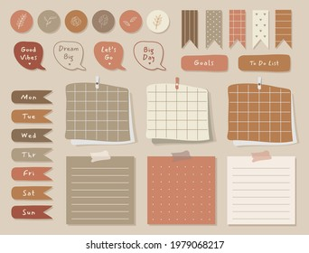 Weekly planner with cute illustration terracota theme graphic for journaling, sticker, and scrapbook.