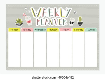 Weekly planner. Cute page for notes. Notebooks,decals, diary, school accessories. Cute romantic vector page.