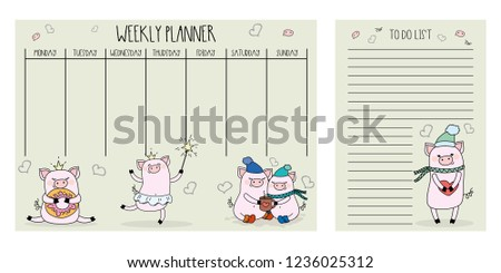 weekly planner do list cute pigsadorable stock vector royalty free
