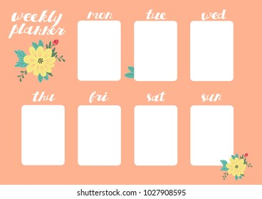 Weekly Planner with Flowers, Stationery Organizer for Daily Plans.