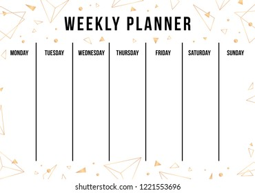 weekly planner with gold geometric shape organiser and schedule with place for notes template