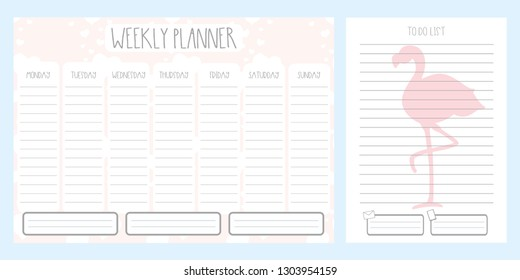 Weekly planner with hearts and to do list with cute flamingo,adorable wild bird,template page,doodle hand drawn vector illustration.