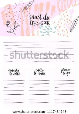 weekly planner weekly list templates organizer stock vector royalty