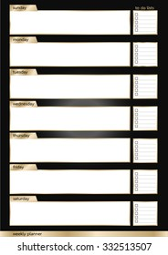 Weekly planner metallic black and gold smart frame vertical