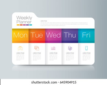 Weekly planner Monday - Friday infographics design vector and marketing icons with 5 options, steps or processes.