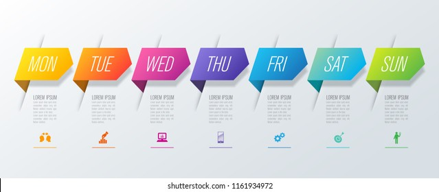 Weekly planner Monday - Sunday infographics design vector and marketing icons with 7 options, steps or processes.