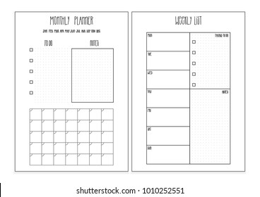 Weekly planner, monthly planner printable pages. Vector organizer template. Bullet journal