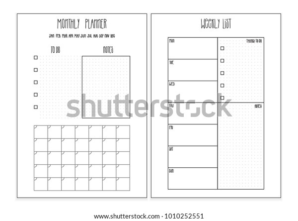 photograph regarding Bullet Journal Symbols Printable named Weekly Planner Month-to-month Planner Printable Internet pages Inventory Vector